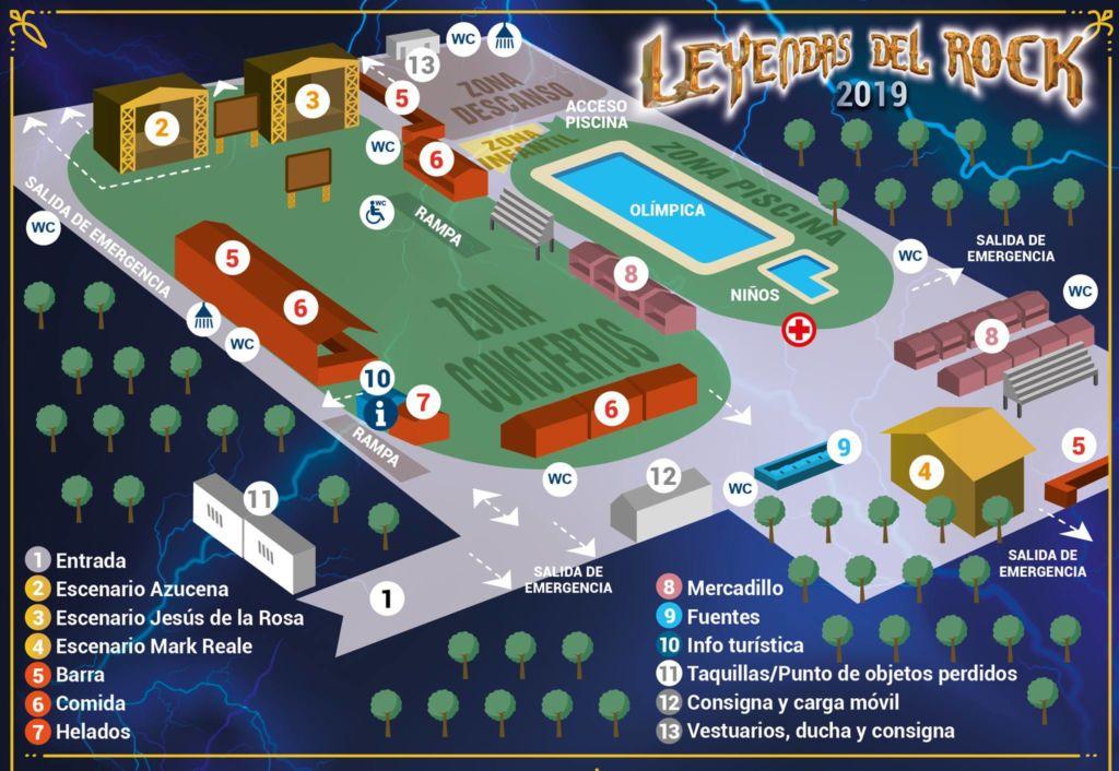 Mapa del recinto Leyendas del Rock 2019